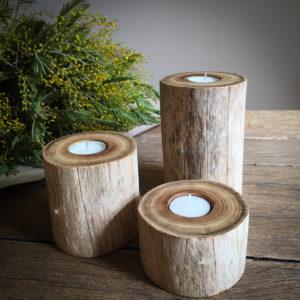 Lot 3 bougeoirs en bois flotté